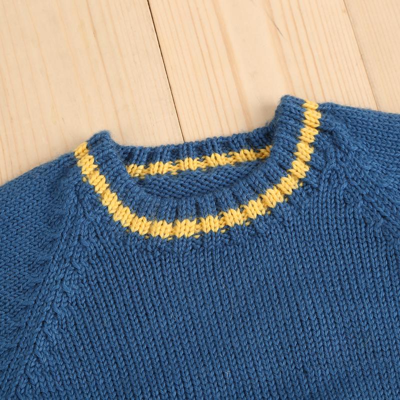 口袋戴眼镜 纯手工编织儿童毛衣 童装 手工毛衣 宝宝毛衣