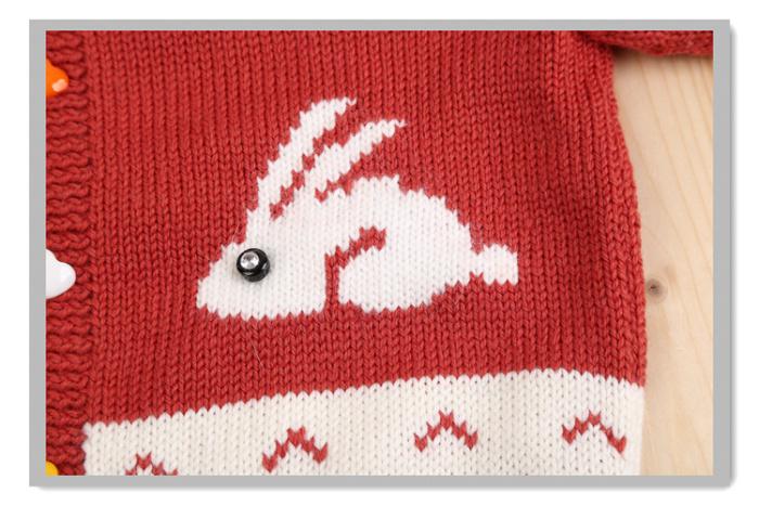 小白兔图案编织图案_毛衣上动物图案图解