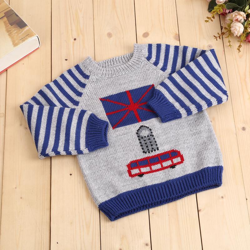卡通公交图案 纯手工编织儿童毛衣 童装 手工毛衣
