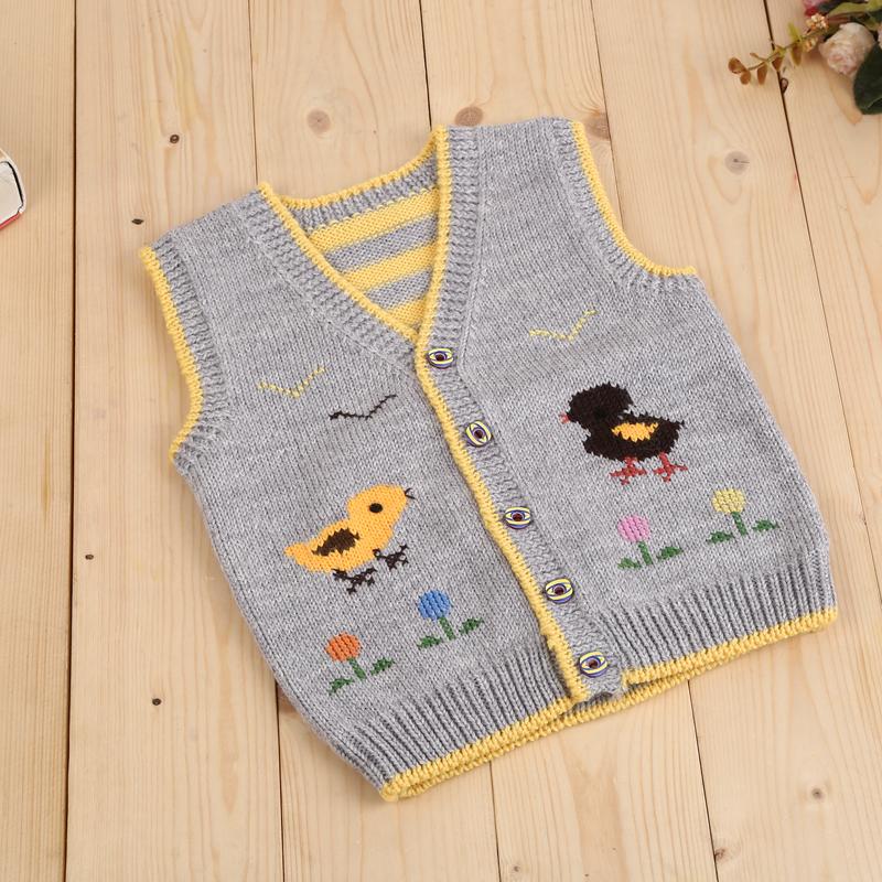 纯手工编织婴幼儿童毛衣背心 手织宝宝毛线马夹