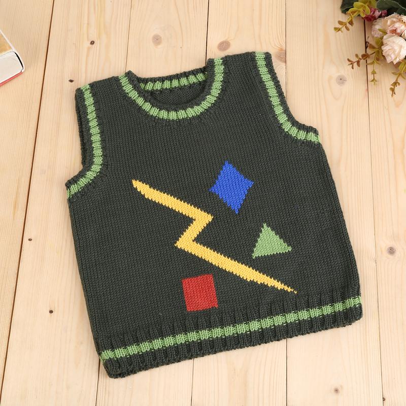 绿色闪电图案手工儿童毛衣时尚休闲背心卡通百搭