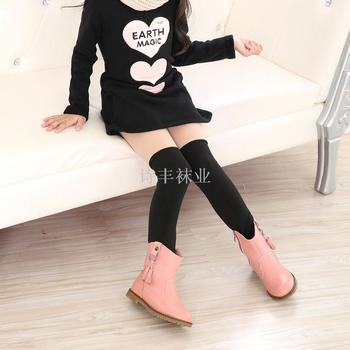 Children thickening warm pants stitching leggings solid color pantyhose thick pants