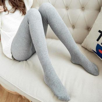 Thicker Leggings Gray Cotton Vertical Pants Pants Pants Socks Warm Pants