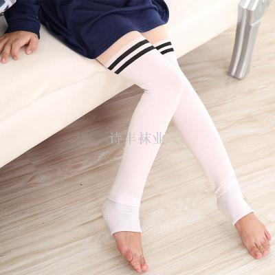 Children thickening warm pants horizontal stripes children's leggings thickening pants