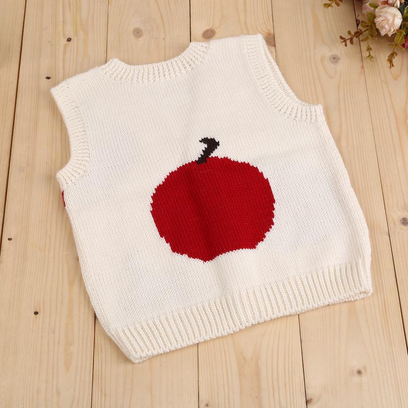 儿童鸡心领背心 纯手工编织羊毛开衫春秋打底白色小背心