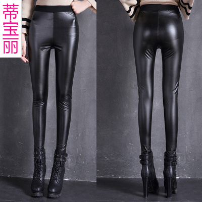 High elastic slim slim Pu jeans wholesale leather leggings