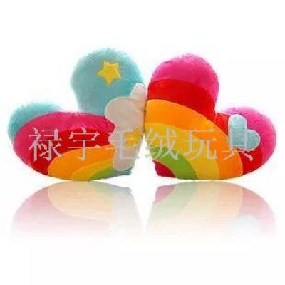 Plush toys wholesale Korean rainbow love clouds heart-shaped couple plush toys pillow cushion