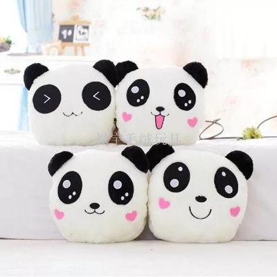 Can be luminous LED cute panda pillow hand warm black and white Meng Meng Panda head pillow plush toys