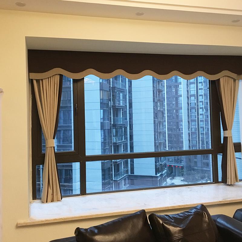 米色纯色棉麻美式窗帘定制厚新中式拼色撞色帘头客厅图片