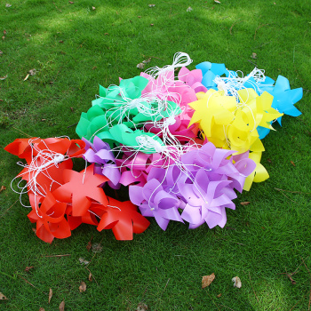 Solid color hex string 24CM leaf wholesale plastic waterproof area kindergarten decorative windmill windmill