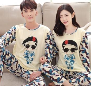 Autumn and winter new long-sleeved couples pajamas cute cartoon casual fashion boys and girls pajamas