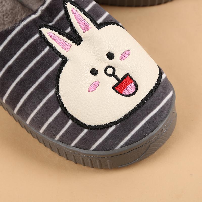 兔子图案装饰儿童棉拖鞋 条纹保暖拖鞋 可爱小孩棉拖