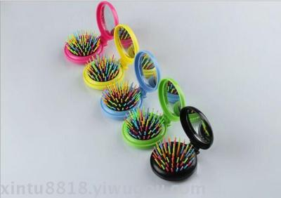 Factory wholesale Rainbow Comb folding comb round mirror mini rainbow plastic Comb hair Comb