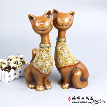 Creative couple cat living room Lucky Decoration gifts home furnishings crafts