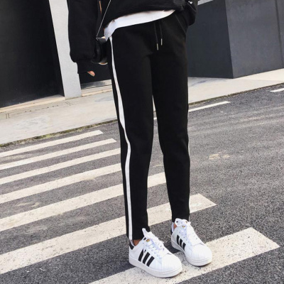 ew side of the white side of the pants pants loose loose pants Korean version of the nine points Harlan pants