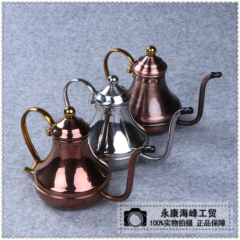 欧式手冲宫廷壶长嘴细口壶 304不锈钢工艺茶壶