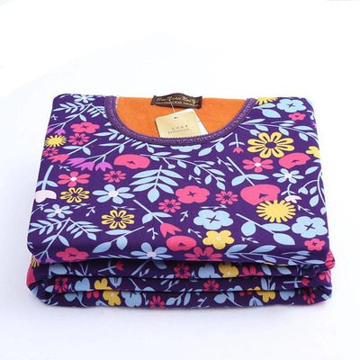 Autumn and winter new men and women plus cashmere thick cotton milk silk printing thermal underwear suit