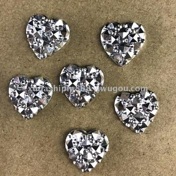 Resin drill accessories full star electroplating white K heart-shaped peach hand-paste drill