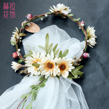 Wreath fairy hair with handmade flowers veil Korean bride headdress seaside holiday hair bands
