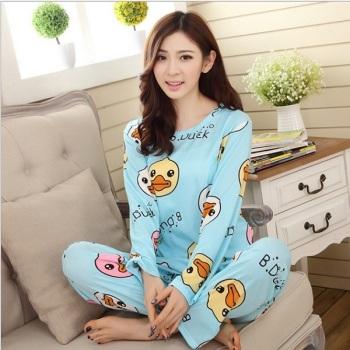 Silk Pajamas milk Lady cartoon cute long sleeve suit home Spring Autumn wear