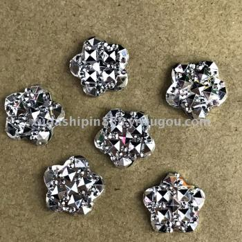 Resin drill accessories full star electroplating white K plum shape hand stickers
