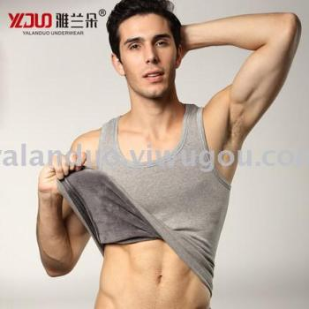 Yalanduo warm vest male cotton vest tightening plus velvet thickening men's thermal underwear winter