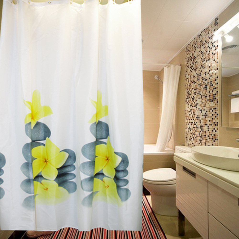 Shower Curtain Polyester Fabric Environmental Waterproof And Mildew Resistant Yellow Flower