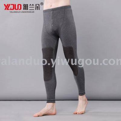 Knee knees warm pants male plus velvet thick autumn and winter cotton sweater pants Slim