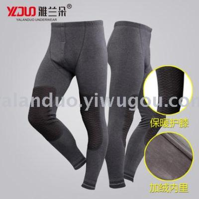 Knee knees warm pants male plus velvet thick autumn and winter cotton sweater pants Slim