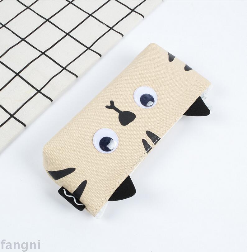 韩国文具批发 新款大眼猫倒梯形笔袋帆布外贸