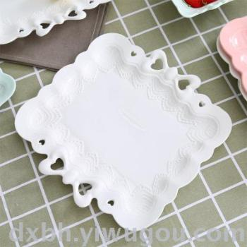 Ceramic embossed color glaze double bow square square dish Western bread fruit plate decoration plate 8 inch