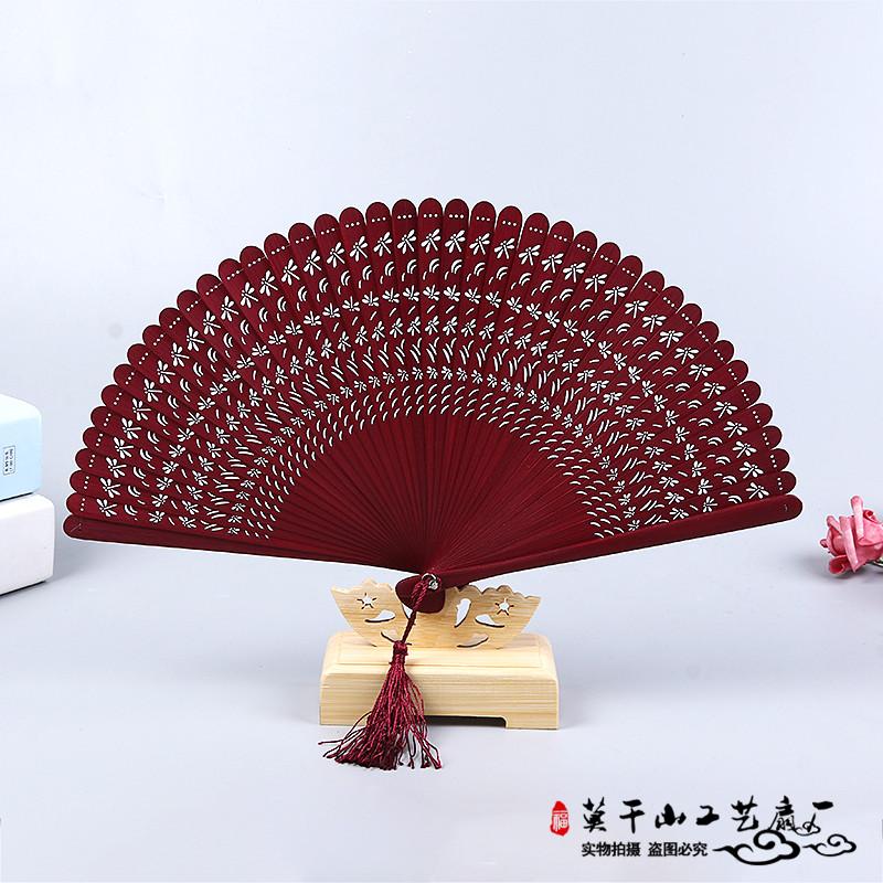 迷你镂空古风折扇中国风全竹扇子女士日式工艺小礼品扇