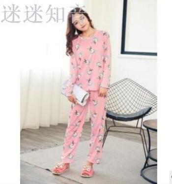 New lady milk silk cartoon pajamas suit rabbit long-sleeved pajamas home service
