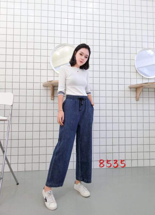 Denim straight jeans women Korean students wide leg pants fat MM nine points big size new women