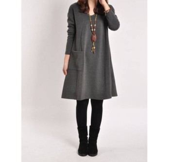New version of the big lady long sleeves pajamas Korean loose girls long sleeves sleep dress