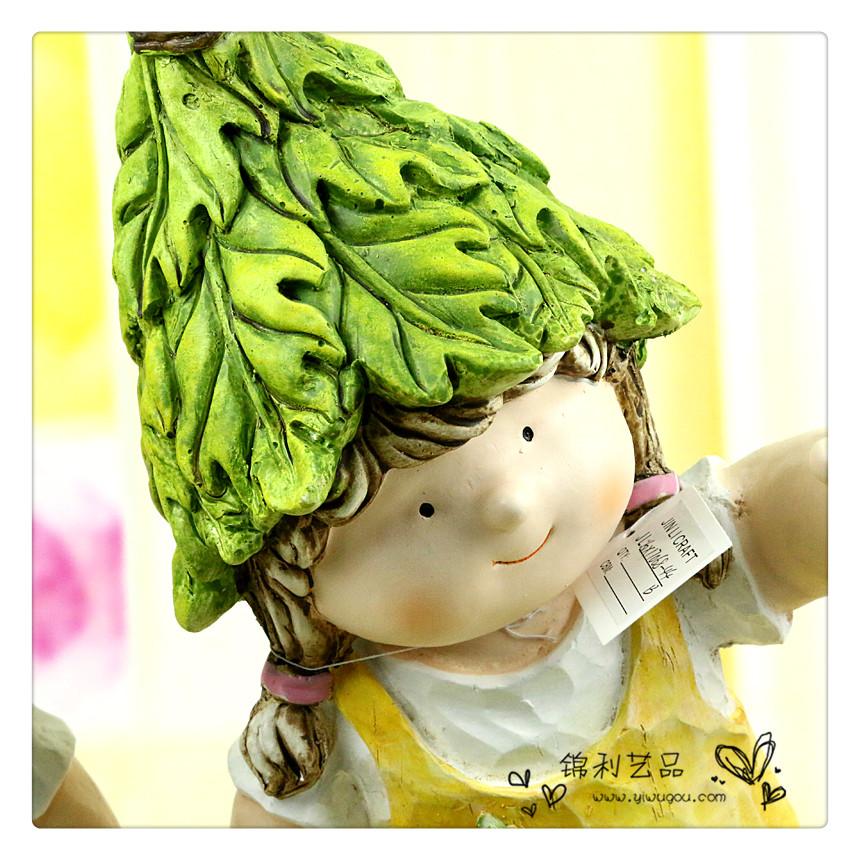 卡通人物雕塑小孩园林幼儿园装饰品 可爱娃娃摆件树脂