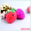 Color strawberry boutique creative fur real hair key chain trailer manufacturer direct selling plush