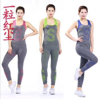 Yoga suit camouflage letters tight fitness clothes ladies yoga suit two sets of sportswear suit yoga pants pants
