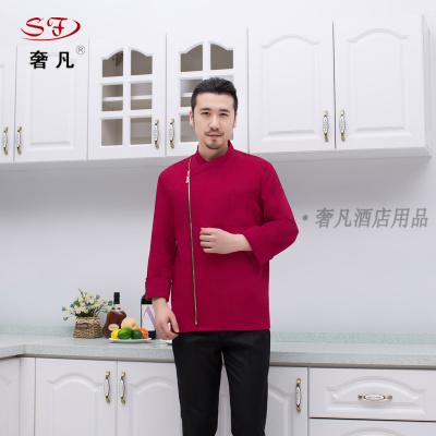 Hotel chef suits uniforms made of Chinese Western chefs zipper