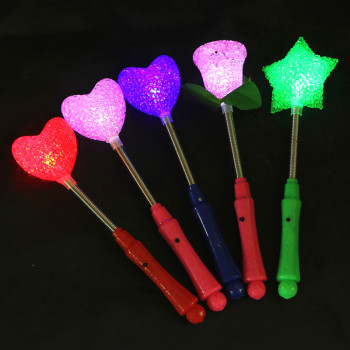 Spring stick rice stick particles stick heart stick roses baseball stars Rod glow toy Flash toys, Flash rods