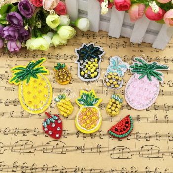 Handmade beaded nail beads fruit cloth paste Cherry pineapple strawberry watermelon Clothing decor hairpin stickers