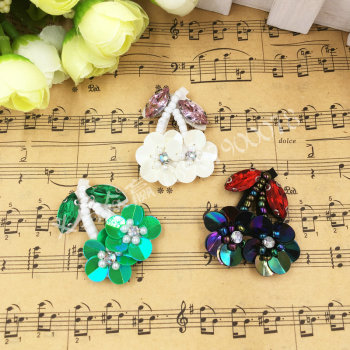 Handmade nail bead piece flower cherry cloth clothing bag shoes diy accessories Decorative Decals