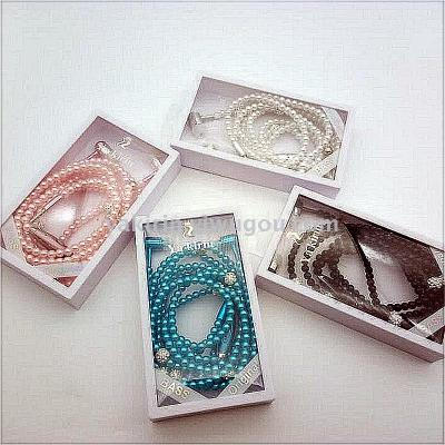 Yakin YQL-102 pearl necklace headset creative handmade beads subwoofer headset pearl headphones