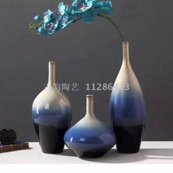 Simple home decorations hand ceramic vases set of three Chinese crafts