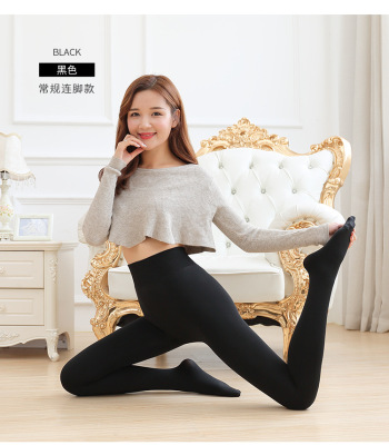 Lady in autumn and winter and high density super soft and plush padded one wearing foot warm pants jeans leggings