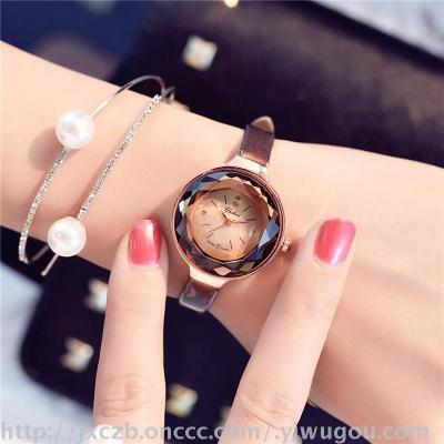 South Korea trend of small round Dial Watch female students of fine leather strap watch