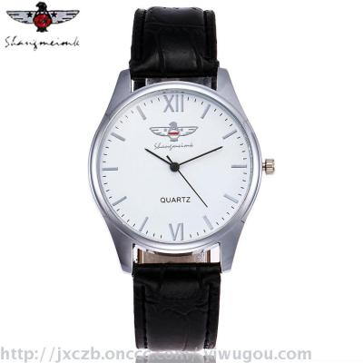 2017 Europe and new men's Roman numerals leather strap watch