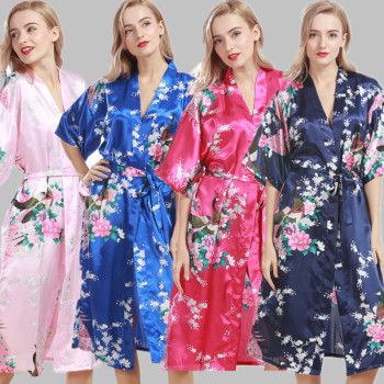 Foreign trade Peacock Silk Pajamas Nightgowns robe mother and daughter wear pajamas