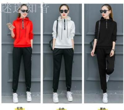 Spring and autumn leisure sportswear fashion slimming plus size long sleeve hooded sweater two piece set