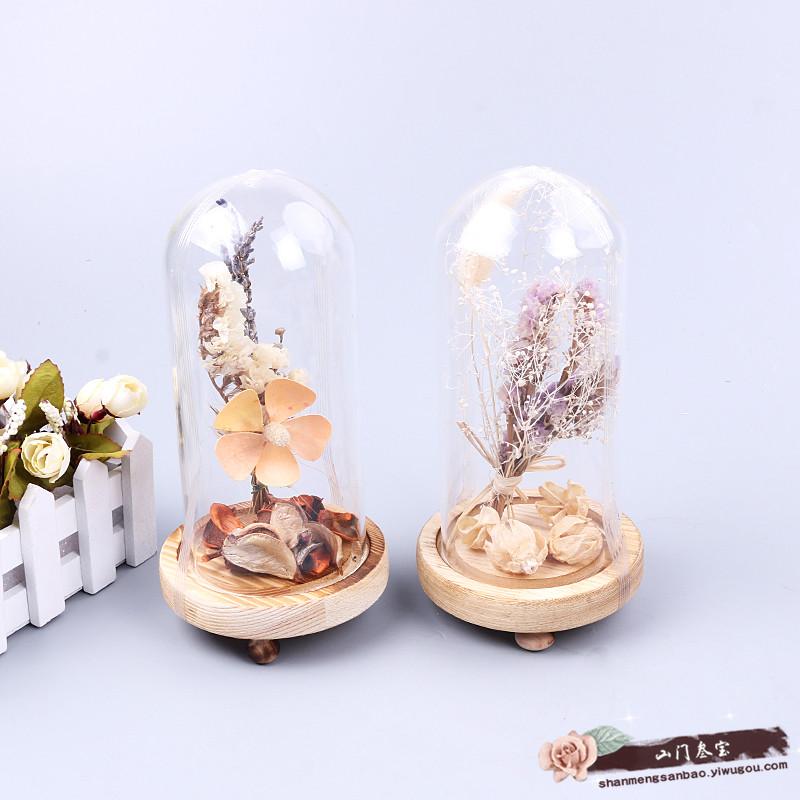 欧式干花玻璃罩客厅办公桌小摆设创意客居卧室装饰品摆件